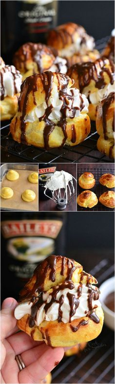Baileys Cream Puffs. These little treats are made of fresh choux pastry, filled with Baileys whipped cream, and topped with easy Baileys chocolate sauce. (Christmas Bake Baileys)