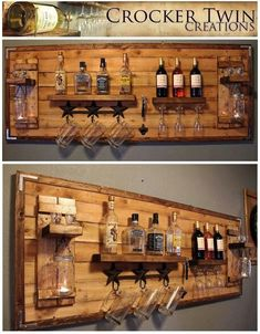 How to make a DIY Pallet Bar? - Diana Phoneix How to make a DIY Pallet Bar? - Is it your friend's birthday or some big event coming up in few days? If yes and you wanted to surprise him then making a DIY pallet bar is a great . Bar Pallet, Pallet Walls, Pallet Wine, Pallet Ideas For Walls, Pallet Cooler, Wooden Pallet Projects, Homemade Bar, Palette Diy, Home Bar Designs