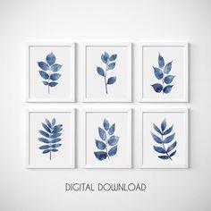 Printable Wall Art Navy Blue Wall Art Set of Botanical | Etsy