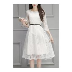 Round Neck White Midi Lace Dress ($23) ❤ liked on Polyvore featuring dresses, white, white midi dress, sleeved dresses, lace midi dress, long sleeve midi dress and long sleeve lace dress