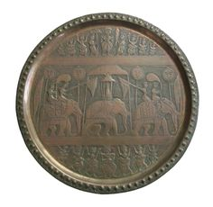 Vintage South Asian Brass Plate - Hand Hammered - #3 - India - Mid 20th Century | eBay