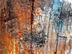 texture, work of art. the cracks in this abstract art show texture becasue the layers of the painting make it look 3D