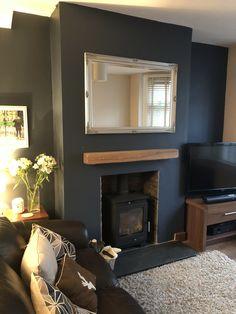 Blue Feature Wall Living Room, Sage Living Room, Log Burner Living Room, Navy Living Rooms, Small Living Room Furniture, Living Room Styles, Small Living Room Design, Living Room Color Schemes, Small Living Rooms
