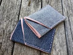Slim Denim Wallet  Sleek Denim Wallet  Front Pocket by MayCheang