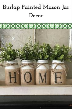 Burlap Painted Mason Jar! #affiliate