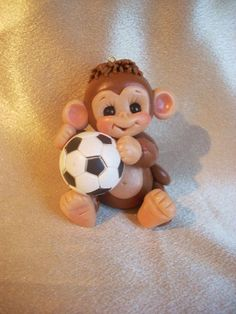 soccer+monkey+Christmas+ornament+cake+topper+animal+by+clayqts,+$19.95: