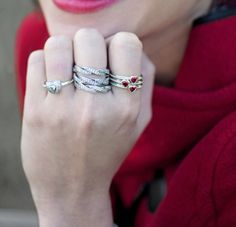 Capri Jewelers Arizona ~ www.caprijewelersaz.com  Let the love sparkle with PANDORA rings. PANDORA ring Hearts Red
