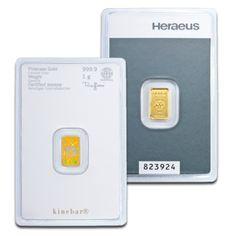 1g Gold Bullion | Heraeus Kinebar Gold Bar