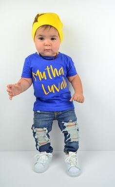 Mutha Luvah™ Baby Bodysuit, Toddler, Kid, & Teen Boy Tee Shirt For The Mamas Boys Out There. Hat also by #LivAndCo By Liv & Co.™ - Liv & Co.