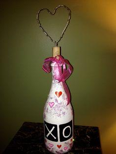 White Glittered Heart Bottle by BakkCoBottlesandCork on Etsy, $20.00