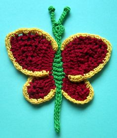 Big Colorful Crocheted Butterfly Applique by PetalsnMore on Etsy