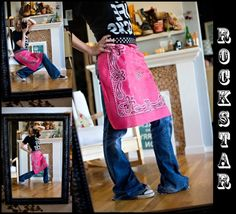 Easy Bandana Apron - (not much sewing required, if any) These would make super cute gifts to go along with some homemade cookies or a favorite recipe. Supplies: Heat-n-Bond tape, ribbon, bandana, Fray Check Sewing Aprons, Sewing Clothes, Diy Clothes, Sewing Hacks, Sewing Crafts, Sewing Projects, Fabric Crafts, Diy Projects, Diy Crafts