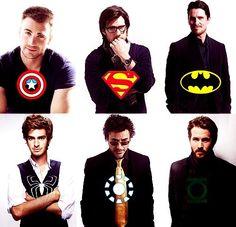 Chris Evans - Captain America  Brandon Routh - Superman  Christian Bale - Batman  Andrew Garfield - Spider-Man  Robert Downey Jr. - Iron Man  Ryan Reynolds - Green Lantern