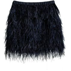 Cynthia Rowley Feather Skirt ($259) ❤ liked on Polyvore featuring skirts, mini skirts, bottoms, saias, faldas, black, feather skirts, party skirts, elastic waist skirt and ostrich feather skirt