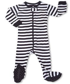 "Leveret Footed Black & White ""Striped"" Pajama Sleeper 100% Cotton (Size 6M-5T) $10.99"