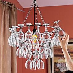 Wine Glass Chandelier - fun!