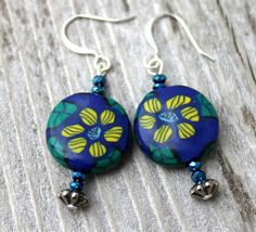 Sunny Sunflowers on a Blueground Hand Crafted Earrings Polymer CLay   Wyverndesigns - on ArtFire