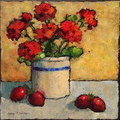 "Daily Paintworks - ""Sunshine Geraniums"" - Original Fine Art for Sale - © Nancy F. Morgan"