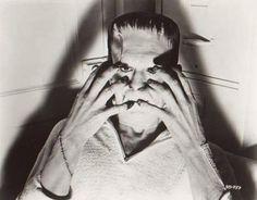 Boris Karloff candid from Son Of Frankenstein (1939)