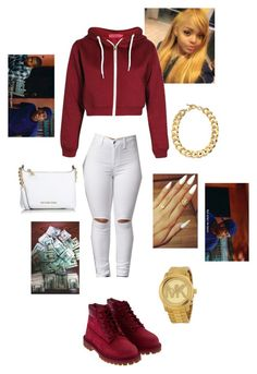 A fashion look from March 2016 featuring red jersey, purses crossbody and quartz jewelry. Browse and shop related looks. Dope Outfits, Swag Outfits, Cute Casual Outfits, Polyvore Outfits, Polyvore Fashion, How To Wear Timberlands, Teen Fashion, Fashion Outfits, Outfit Goals