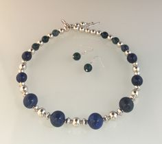 Lapis & Azurite nat'l stone beads, Pewter with SS overlay beads & toggle.  Azurite stone earrings.