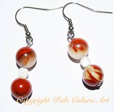Red Jasper 10mm Stone Earrings,Red Jasper Stone Earrings,Stainless Steel Hypoallergenic Non-Tarnish Ear Wires,Red Jasper Stone Earrings