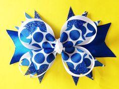 Lunares azul y blanco apilados arco del pelo del Boutique