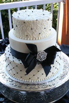 Black Bow and Broach Wedding Cake