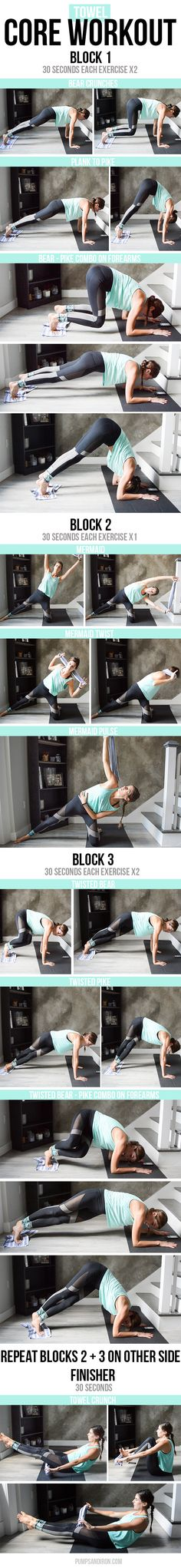 15-Minute Towel Core Workout - a mix of sliding plank work and kneeling core…