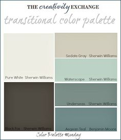 """Transitional Paint Color Palette {Color Palette Monday The Creativity Exchange. For color palette I pulled together a collection of fantastic """"transitional paint colors"""" that have a great balance of both warm and cool undertones Paint Color Palettes, Paint Color Schemes, Blue Colour Palette, Color Palate, Gray Color, Color Tones, Paint Colors For Home, House Colors, Paint Colours"""