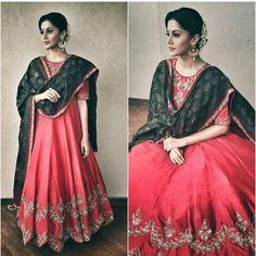 """Repost - @afashionistasdiaries Taapsee Pannu in a beautiful and regal Jayanti Reddy Anarkali! Traditional with a twist! Love the double embroidered…"""