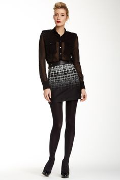 Genuine Leather Detail Jacquard Skirt by L.A.M.B. on @nordstrom_rack