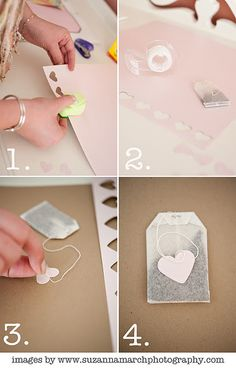 great for a little valentines flair: normal teabags + punched pink hearts = instant love
