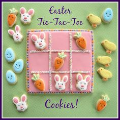 Easter Tic Tac Toe Cookies by Melissa Joy Cookies                              …