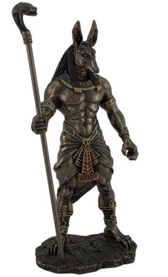 Anubis Holding Scepter Egyptian God Statue