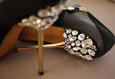 Love the glitter below black high heels, so sexy and glamorous! #fashion #shoes