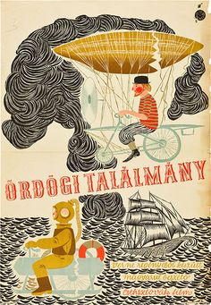 """Hungarian poster for THE FABULOUS WORLD OF JULES VERNE(Karel Zeman, Czechoslovakia, 1958) Designer: """"HG"""". Poster source: Heritage Auctions.   The Hungarian title translates as """"Diabolical Invention"""""""