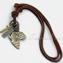Adjustable Mens Africa Map Pendant Man Made Leather Retro Surfer Necklace Choker LUN17(China (Mainland))