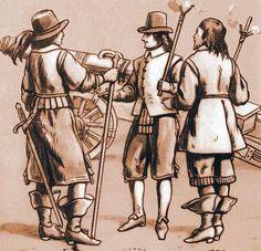"The officer and artillery gunners in the mid-seventeenth century. Fig. B. Gembarzewski (acc. ""Artis magnae artilleriae pars prima"" Jan Siemienowicz)."