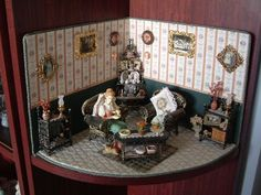 Dolls Houses and Miniatures: I made this little parlour scene, and it is one of my favourites. ~ Julie Craig ~