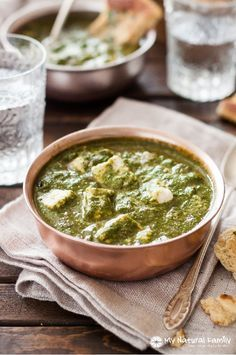 Indian Saag Paneer Recipe - to make this Paleo, just substitute the paneer cheese chunks for cooked chicken.