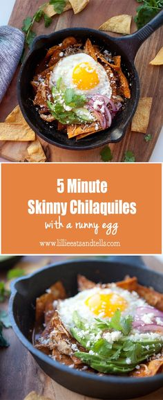 5 Minute Skinny Chilaquiles - Lillie Eats and Tells Veggie Recipes, Mexican Food Recipes, New Recipes, Dinner Recipes, Healthy Recipes, Ethnic Recipes, Paleo Dinner, Healthy Options, Brunch Recipes