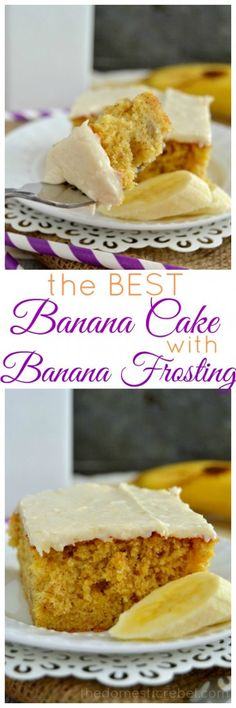 This Best Banana Cake with Banana Frosting is INCREDIBLE! So flavorful, moist and tender, it's packed with sweet banana flavor and a hint of cinnamon. You won't find an easier banana cake recipe!