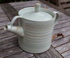 Handmade pottery teapot with a pale green speckle stoneware glaze. by TimFennaCeramics on Etsy Pottery Teapots, Watering Can, Handmade Pottery, Stoneware, Glaze, Tea Pots, Cups, Ceramics, Tableware
