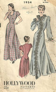 Hollywood 1954 Vintage 40s Sewing Pattern by studioGpatterns