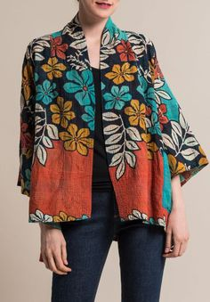 Mieko Mintz 2-Layer Kimono Jacket in Turquoise/Rust | Santa Fe Dry Goods