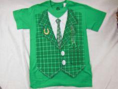 St. Patrick's Day Novelty Tee Shirt Irish Funny Shirt Tie Lucky Horse Shoe Vest  #Hybrid #ShortSleeve