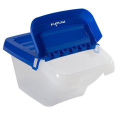 Buy Stackable Storage & Recycling Bin With Hinged Lid from BiGDUG. Free Next Day Delivery on orders over Lowest Price Promise Experts in Storage Solutions Large Plastic Storage Bins, Storage Bins With Lids, Small Storage Boxes, Storage Ideas, Cardboard Storage, Kitchen Storage Solutions, Workshop Storage, Recycling Bins, Craft Materials