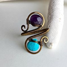 Hey, I found this really awesome Etsy listing at https://www.etsy.com/listing/233950562/turquoise-amethyst-ring-adjustable