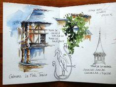épinglé par ❃❀CM❁✿⊱Croquis,carnets de voyage et aquarelle, Stage de croquis en ligne, Sketching, travel journals and watercolor, online workshop